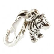 Small Standing Sharpei Dog Sterling Silver Clip On Charm - With Clasp